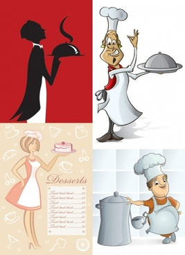 cartoon waiter image vector