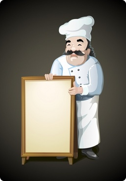 restaurant banner background male cook icon cartoon sketch
