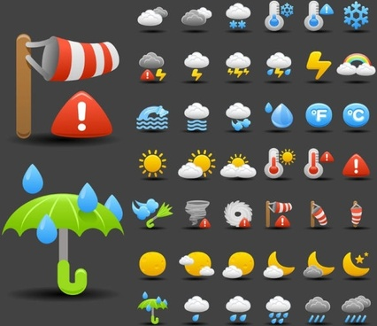 cartoon weather icon 01 vector