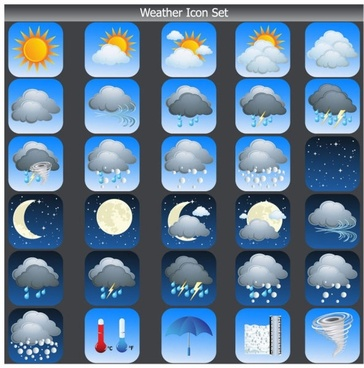 cartoon weather icon 03 vector