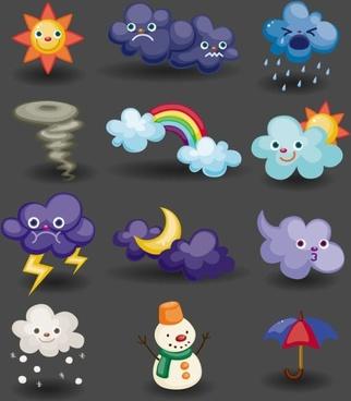 cartoon weather icon 04 vector