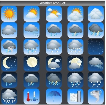 cartoon weather icon clouds fog rain thunder tornado vector