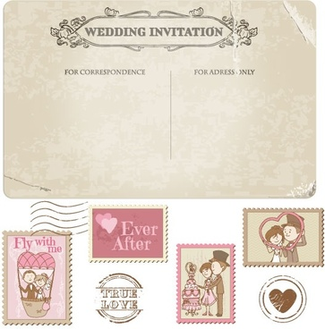 cartoon wedding card 02 vector