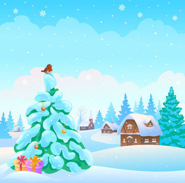 cartoon winter nature background vector