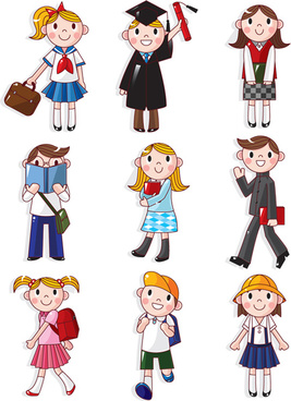 cartoons school elements vector set