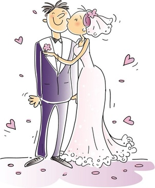 cartoonstyle wedding elements 01 vector