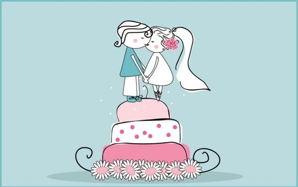 cartoonstyle wedding elements 02 vector