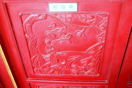 carved wooden door panel