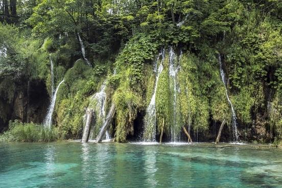 cascade clean environment forest lake landscape