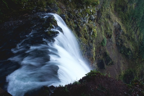 cascade daytime environment forest idyllic landscape