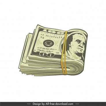 cash icon paper dollar sketch 3d classic