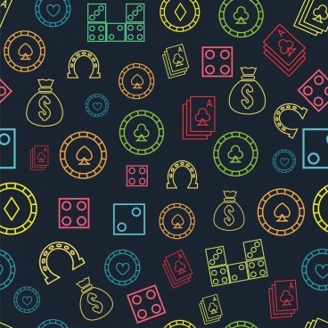 casino background multicolors symbols repeating flat design