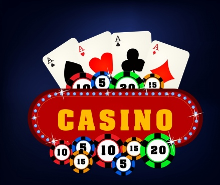 casino design elements card sparkling sign icons