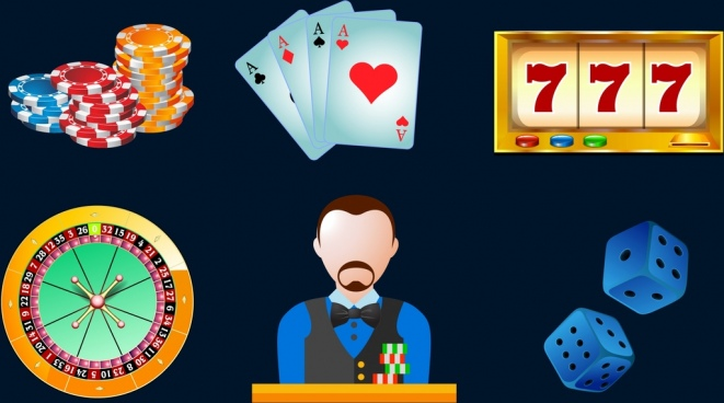 casino design elements colorful 3d design various symbols
