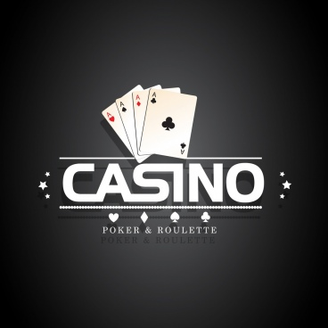 casino logo design card icons white elements decor