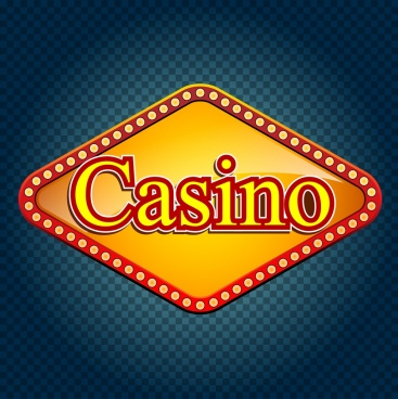 casino sign template yellow neon decoration flat design