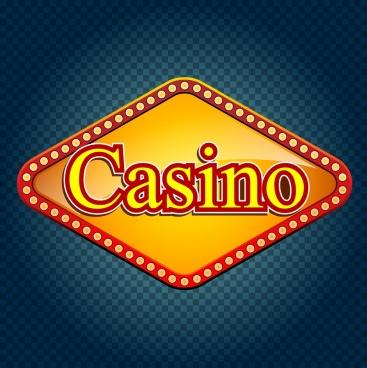casino sign template yellow neon decoration flat design