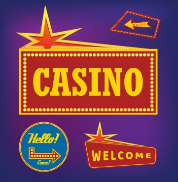 casino signs collection various sparkling shapes decor