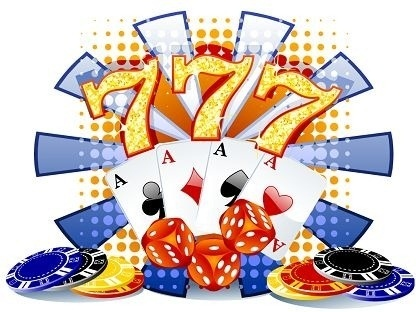 casino banner colorful symbols decoration eventful style