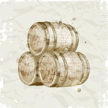 wine brewery design element retro handdrawn barrels sketch