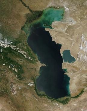 caspian sea satellite photo aerial view