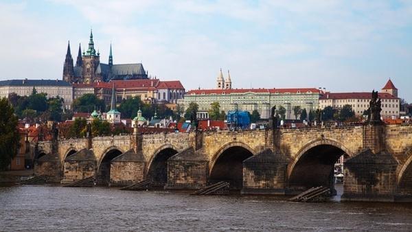castle and bridge in prague