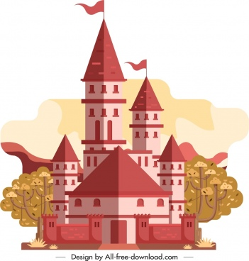 castle icon retro design pink decor