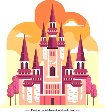 castle icon template colorful flat retro design