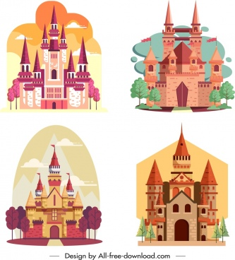 castle icons templates colored classical design