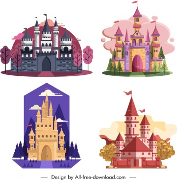 castle icons templates flat vintage design colorful ornament