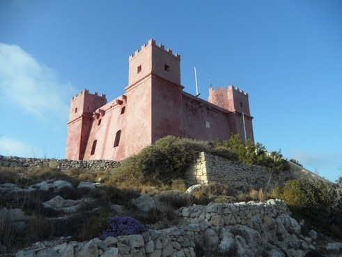 castle red tower exposed