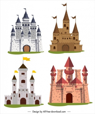 castles icons colored vintage sketch