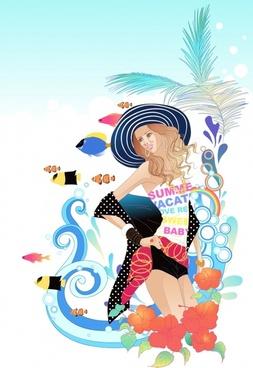 beach fashion background attractive lady marine elements decor