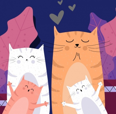 cat family background cute cartoon characters design