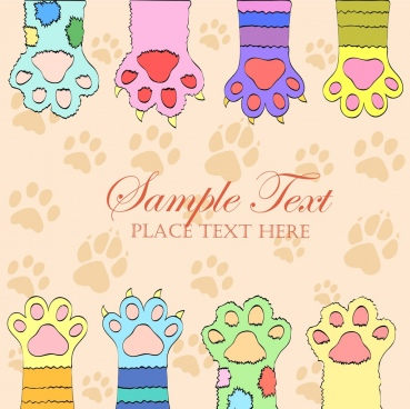 cat footprints background flat colorful decoration