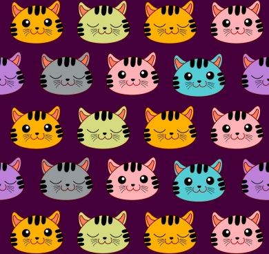 cat heads background colorful repeating decoration