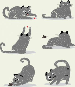 cat icons collection cartoon design various gestures
