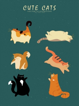 cat icons collection various gestures retro colored