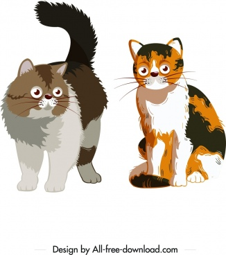 cat icons colored cartoon design
