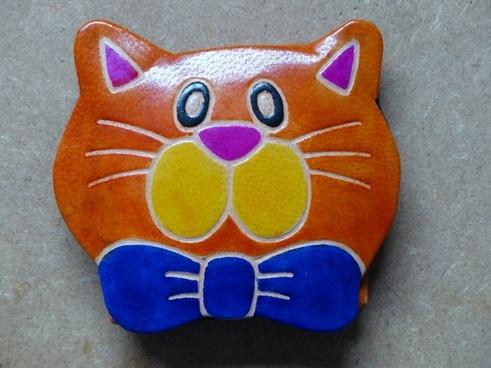 cat leather purse