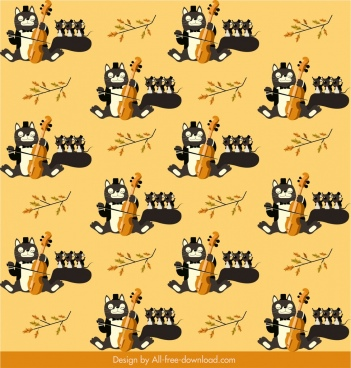 cat mouse pattern stylized cartoon sketch repeating design