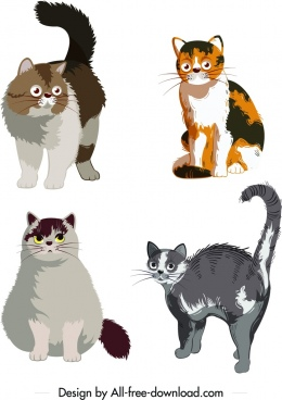 cat pet icons cute colored cartoon design