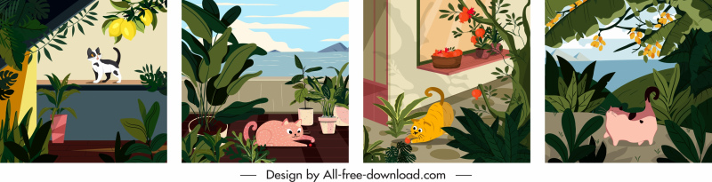 cat pet paintings colorful classical decor
