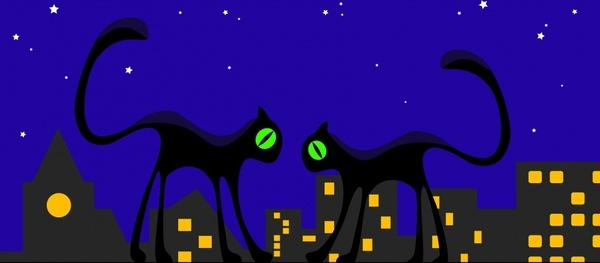 city cats background mockup icons night design