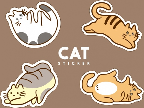 cat stickers collection various gestures isolation