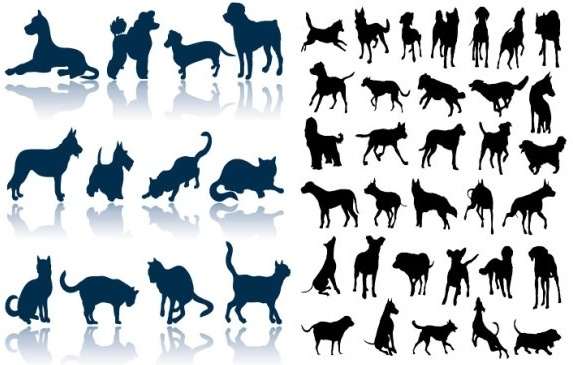 cats and dogs silhouette vector