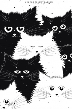 cats background black white icons cartoon design
