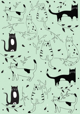 cats background flat handdrawn icons repeating decor