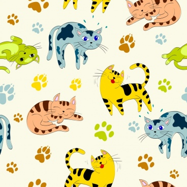 cats background footprints icons colorful repeating design