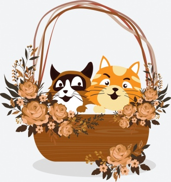 cats basket painting cute icons colored classical design